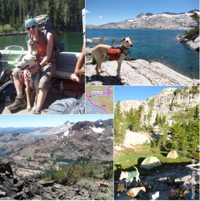 1. Boat taxi across Echo Lake 2. Lake Aloha 3. View south from Dick's Pass 4. First night's camp 5. Click for full map