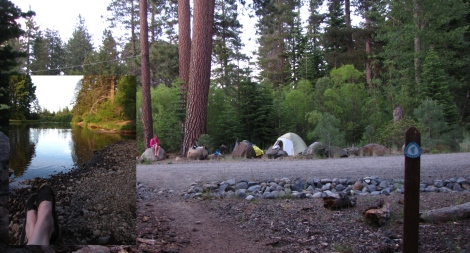 Our Truckee River campsite within 300 feet of the trail corridor.