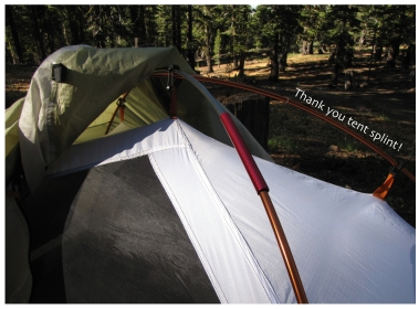Tent pole splint