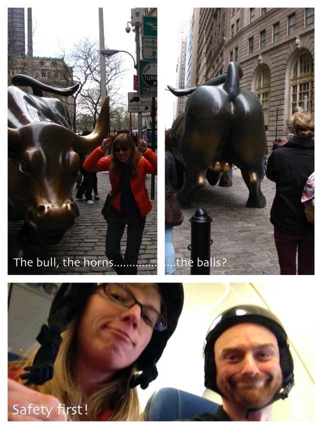 Merrill Lynch Bull, helmets on a plane