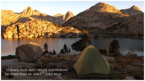 John Muir quote/Photo of Evolution Lake