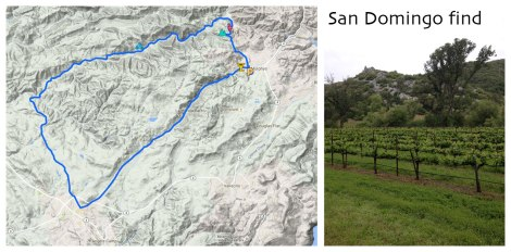 Map of bike route and vineyard