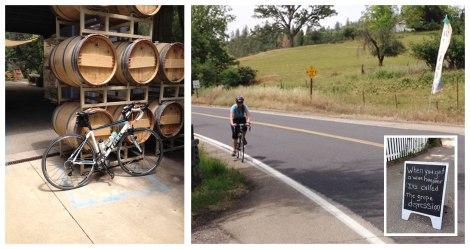 Tasting room stop and biking up Murphys Grade Road