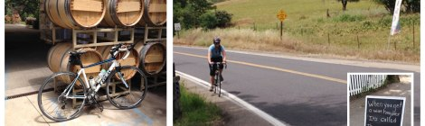 Tasting room stop and biking up Murphys Grade Road