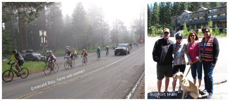 The start of the Emerald Bay climb and my support team.