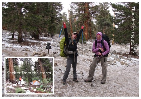 JMT winter wonderland and trailside camp east of Timberline Lake