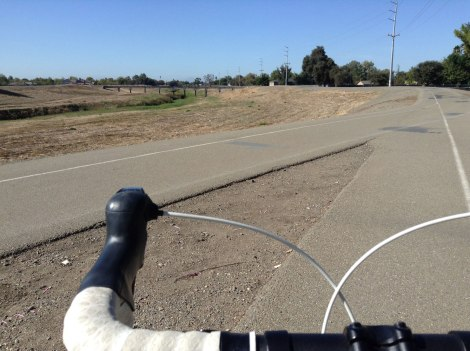The West Lane entrance to the Calaveras River Bike Path.