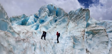 Climbing on Fox Glacier's frozen waves. Photo by Compass