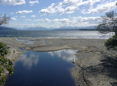 The view of Lake Te Anau from one of the bridges along the trial.