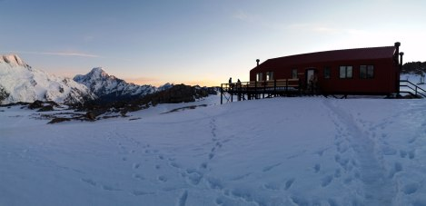 Sunsetting on Mueller Hut and a great day of hiking. Photo by Compass